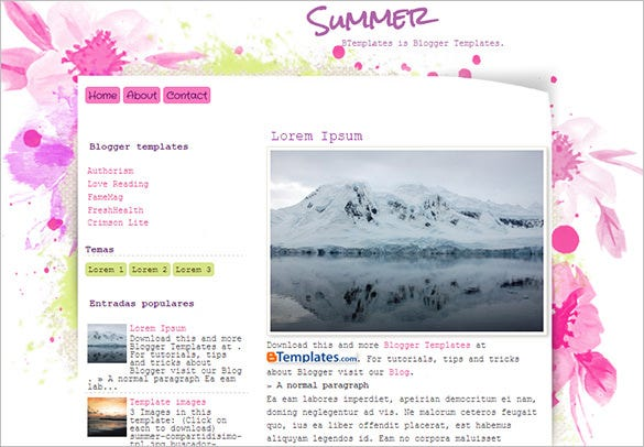 summer floral blogger template