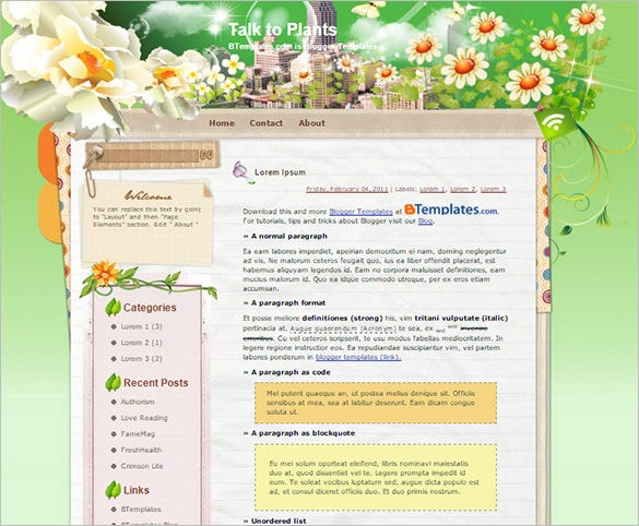 talk to plants floral blogger template
