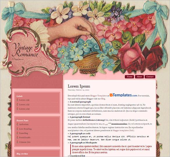 vintage romance floral blogger template