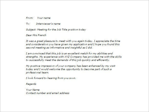 After Second Interview Thank You Letter Samples Thank You Email After Second Interview 5 Free Sample Example