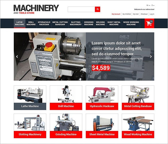industrial equipment responsive magento theme
