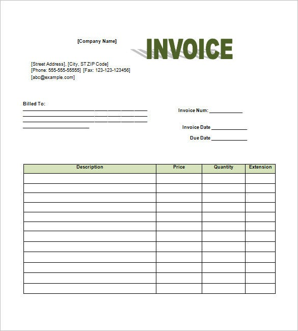 Free Invoice Template Word  Format For An Invoice
