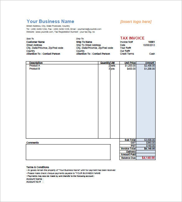 sample retail invoice template