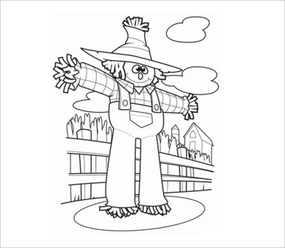 smiling scarecrow printable page