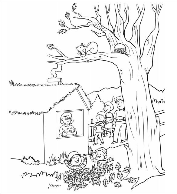 kids playing fall coloring page