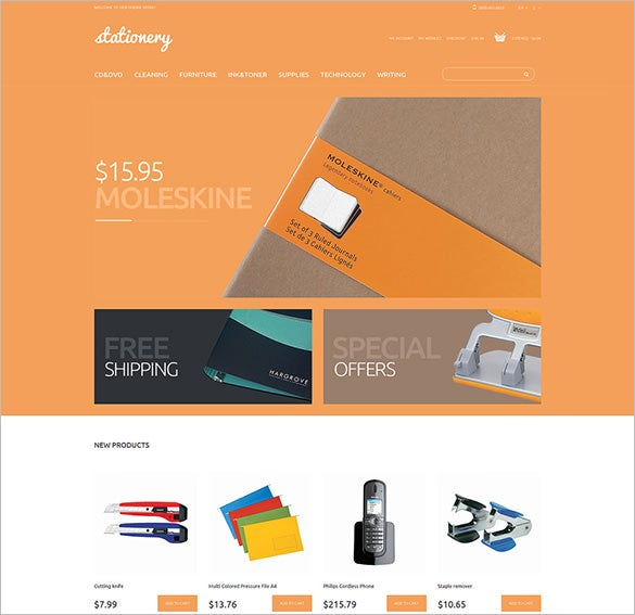 magento stationery store theme