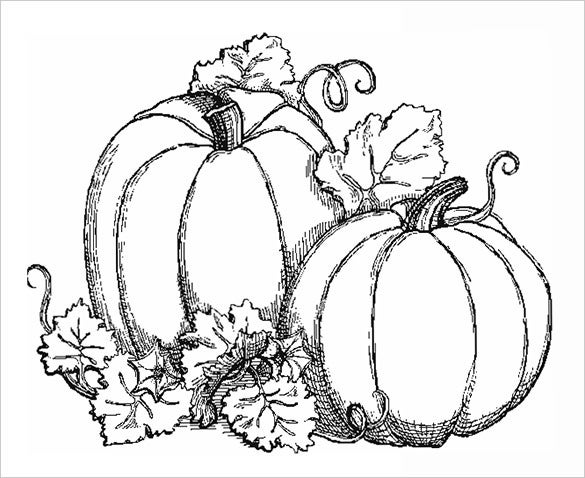 pumpkins fall coloring page