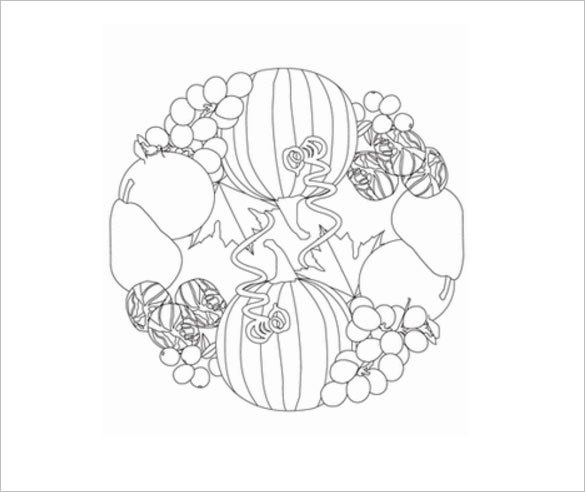 fall produce coloring template