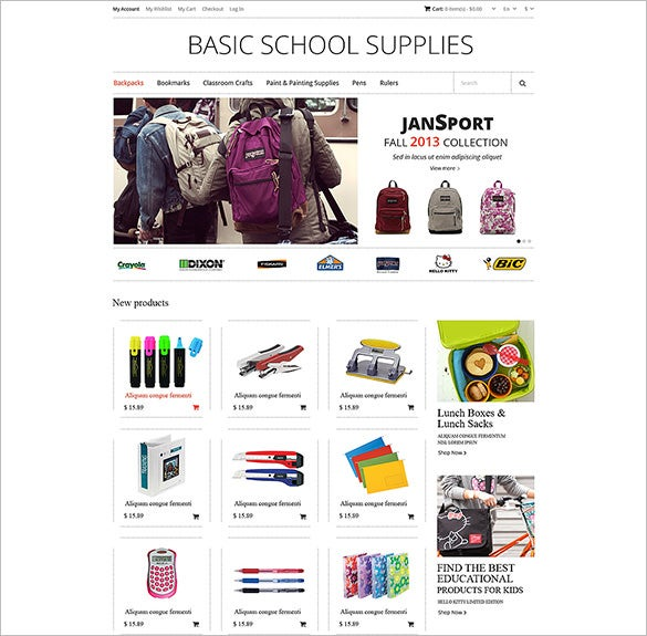 magento theme for school supplies