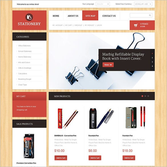 magento theme for stationery store