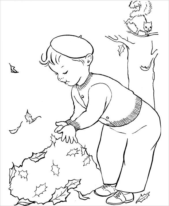 autumn tree leafs coloring page