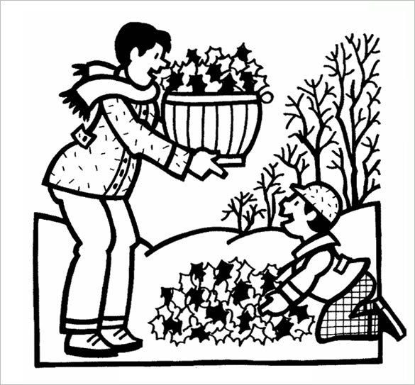 dadand boy autumn coloring page