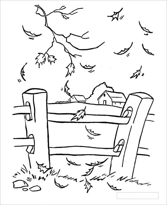 autumn fall coloring page