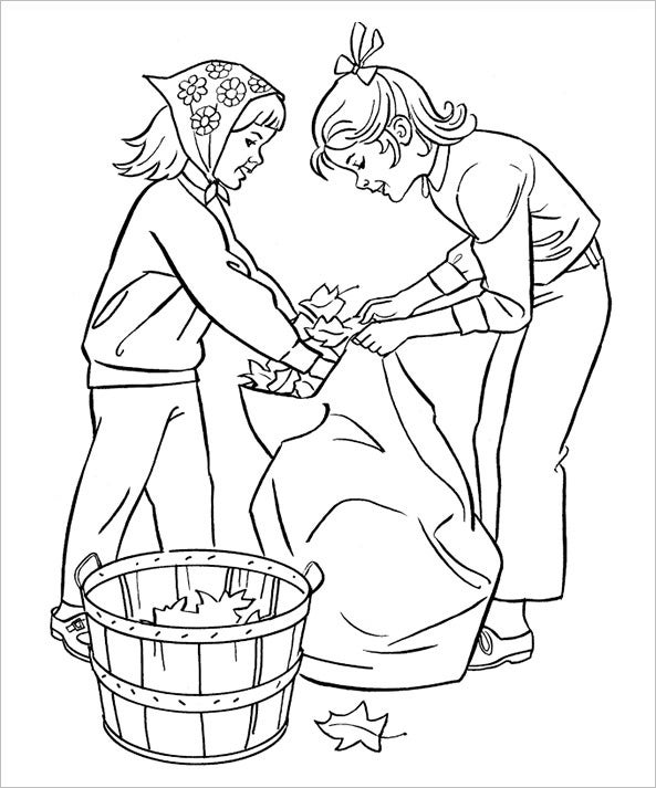 autumn gather coloring page