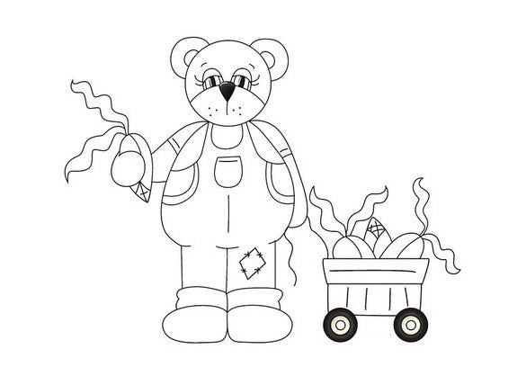 autumn bear coloring page