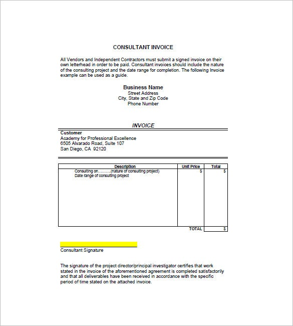 tuition invoice template  Education Invoice Templates - 10  Free Word, Excel, PDF Format ...