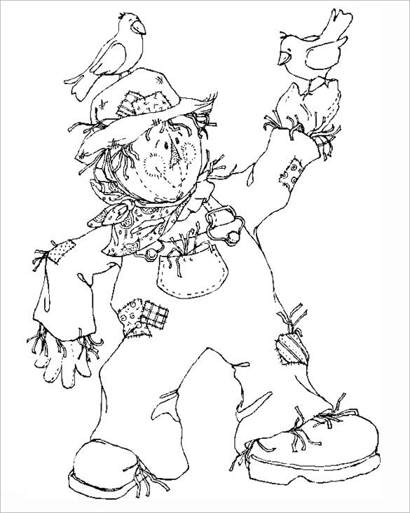 nice scarecrow autumn coloring page