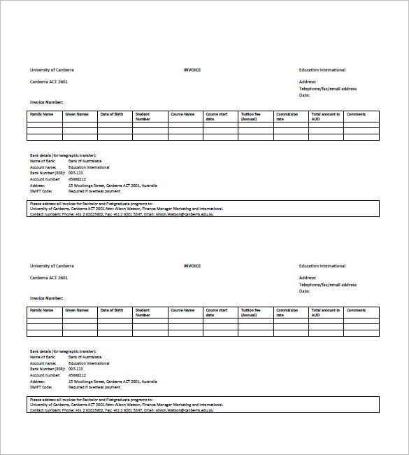Education Invoice Template   Free Word Excel Pdf Format