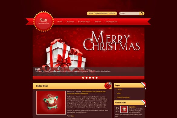 9 christmas wordpress themes templates free premium for Wordpress theme with multiple page templates