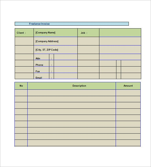 Freelance Invoice Template   Free Word Excel Pdf Format