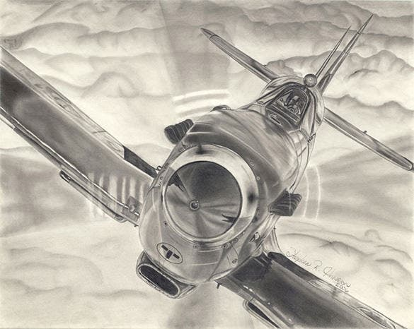 spitfire airplane drawing
