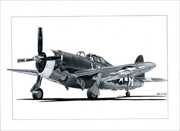p 47 airplane drawing
