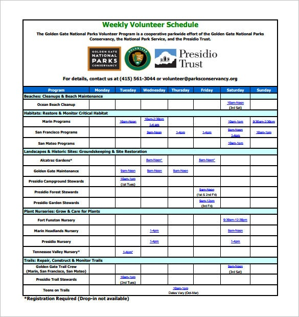 national parks weekly volunteer schedule template pdf example
