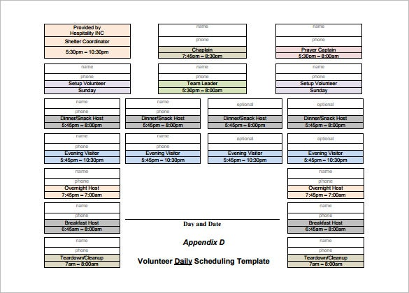 volunteer daily scheduling template free pdf download