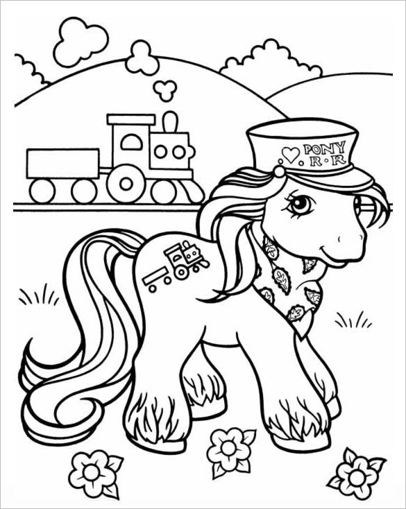 pony scenary colorable page