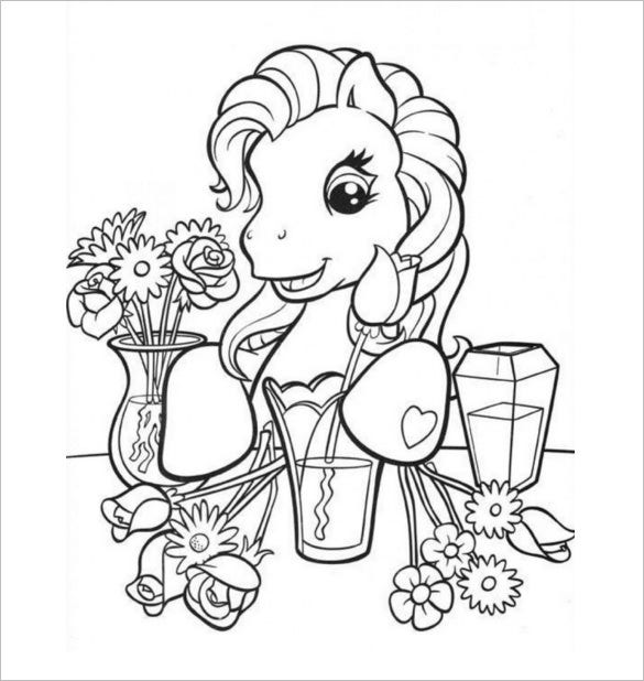 pony with flowers print page