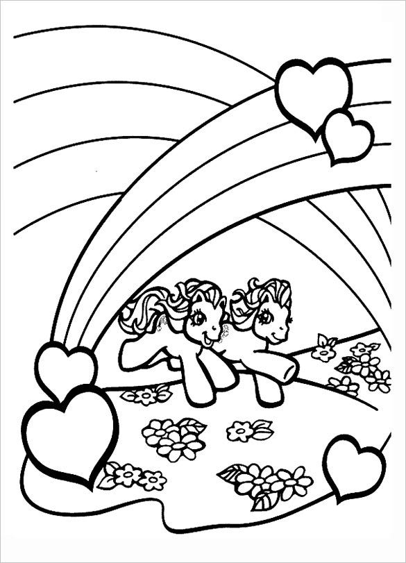 twin pony colorable page