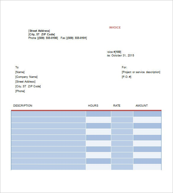 Sample Invoice Word Sample Commercial Invoice In Word Sample