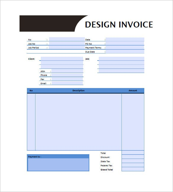 Graphic Design Invoice Template 8 Free Word Excel PDF Format – Graphic Design Invoice Template