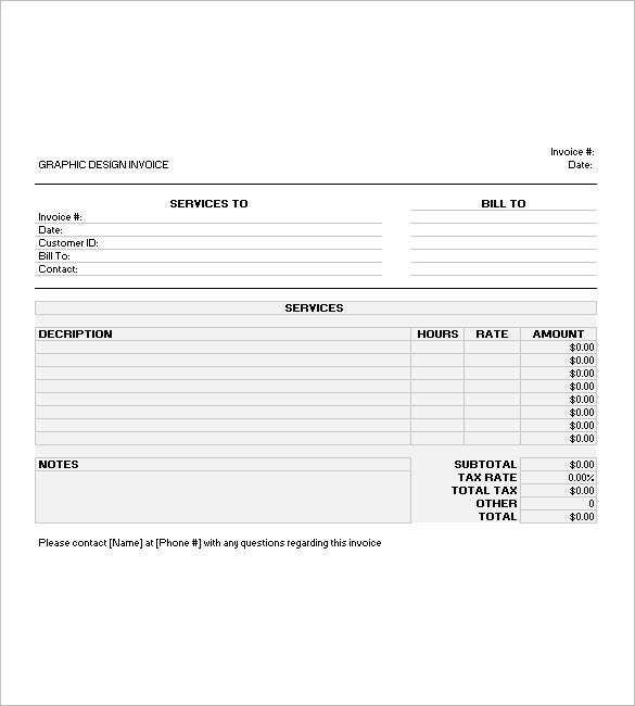 graphic design invoice template excel