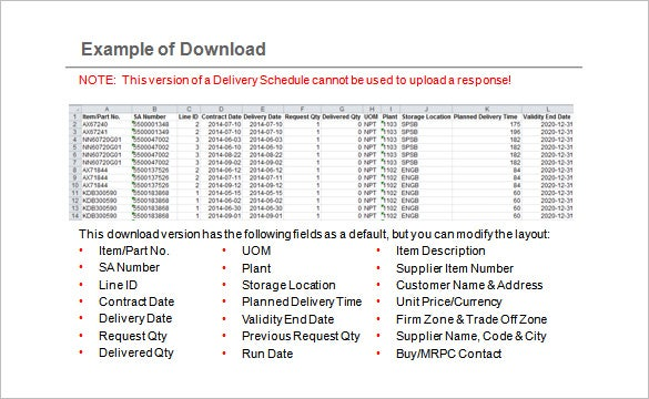 15  delivery schedule templates