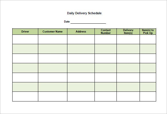 Delivery Schedule Template   Free Sample Example Format