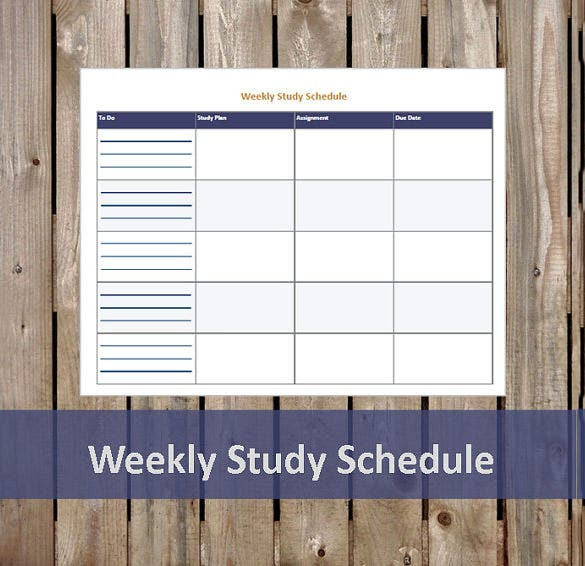 weekly study schedule student sample pdf download