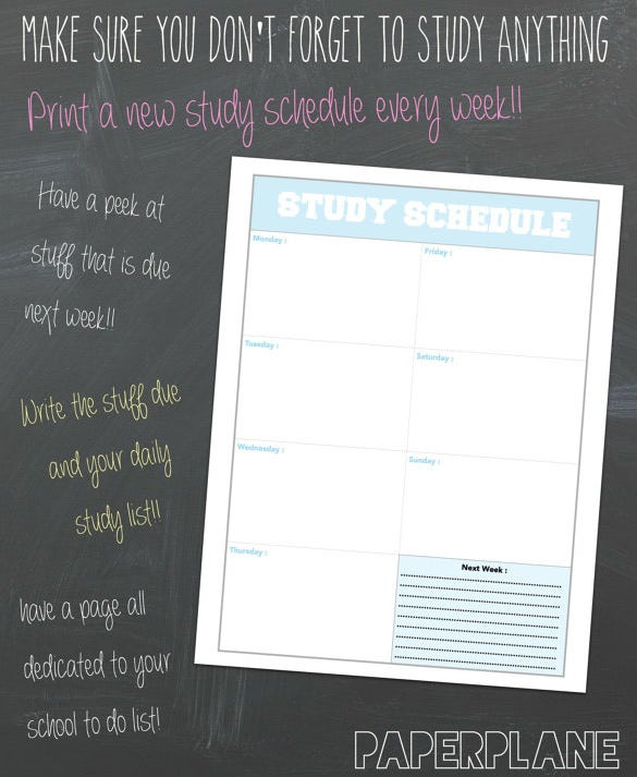 download blank degree study schedule page