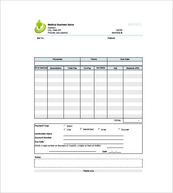 Medical Invoice Template 10 Free Sample Example Format – Medical Receipt Template