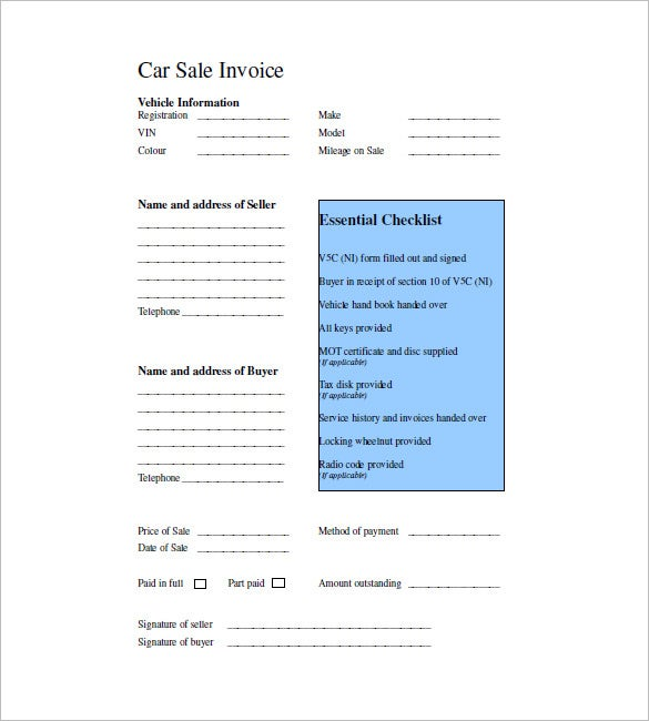 Car Invoice Template   Free Word Excel Pdf Format Download