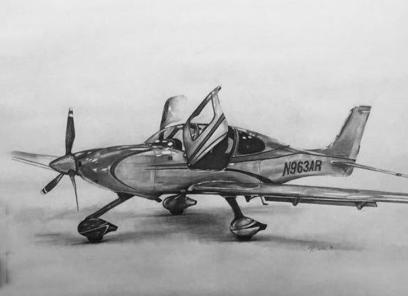 airplane pencil drawing for you