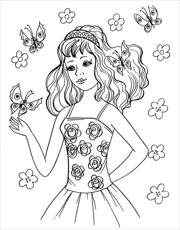 teen girl coloring page