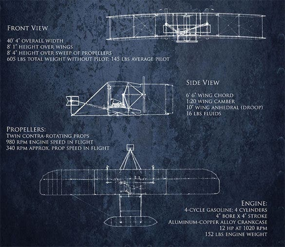 wright flyer airplane drawing