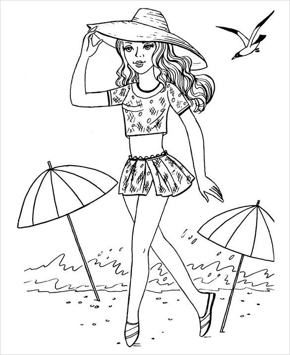beach girl coloring page