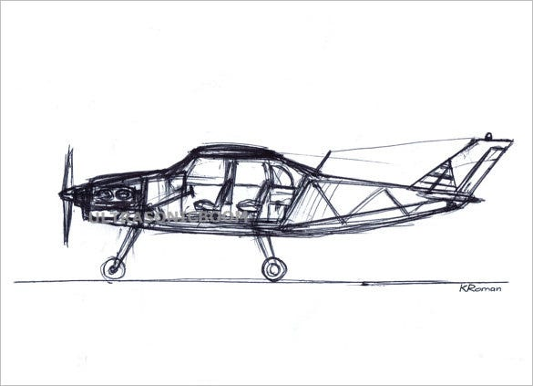 small passenger airplane drawing