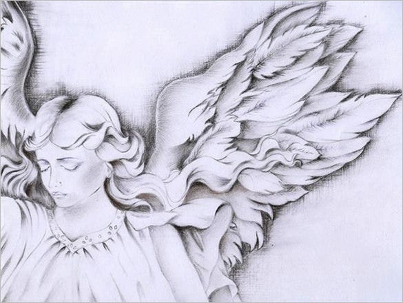amazing angel wings drawing