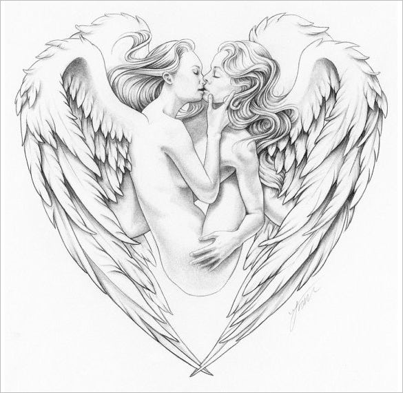 beautiful angel wings drawing