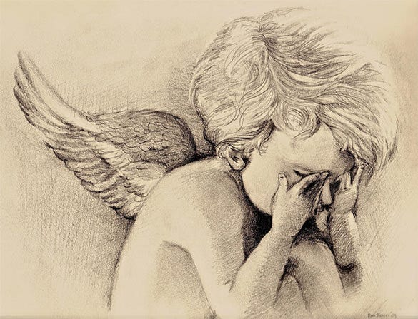 sorrowful angel wings drawing