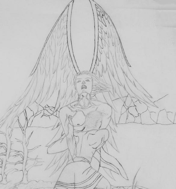 angel of god struggle drawing