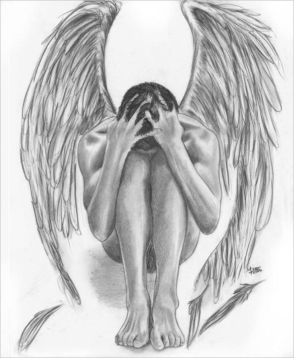 fallen angel art drawing